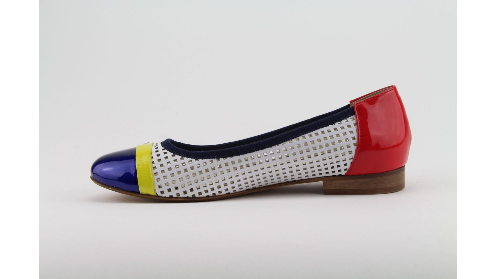 1b7ddb6830 POLANSKI fehér-piros-kék balerina cipő